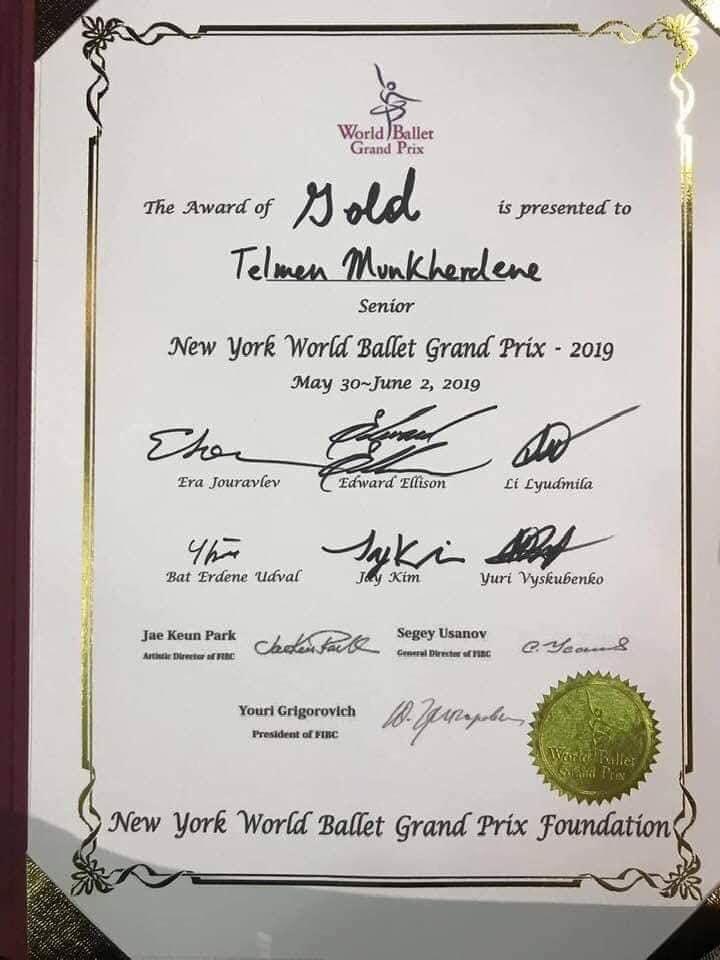 """М.Тэлмэн """"World Ballet Grand Prix""""-ийн алтан медалийн эзэн болжээ"""
